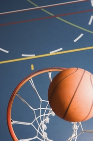 Basketball on rim