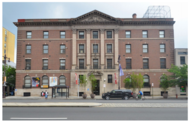 The nomination for the historic designation of the building at 401-11 S. Broad St. includes the above photo of the Georgian Revival exterior, as well as a closeup (inset) of the pediment. Photo provided by Preservation Alliance