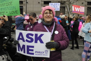 Harriet Winokur, financial secretary of the Greater Philadelphia section of the National Council of Jewish Women, volunteered for the march. Photo by Rachel Kurland