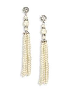 Kenneth Jay Lane faux pearl tassel earrings. Photo provided.