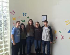 From left: HEAR CLUB members Zach Lipstein, Mackenzie Glassner, Rebecca Civan, Sarah Drapkin and Simon Gordon. Lipstein and Gordon are grandchildren of Holocaust survivors.