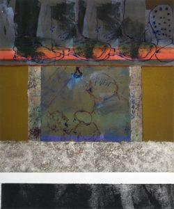 Under the Red Cellar Door, mixed media by Linda Dubin Garfield