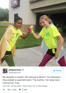 """The Juslims,"" a Halloween superhero duo of Jewish and Muslim friends, went viral after a Twitter posting."