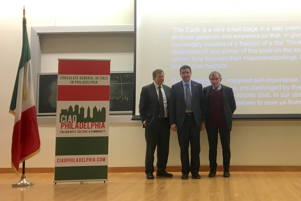Dr. Mark L. Tykocinski, Italian Consul General Andrea Canepari and Dr. Salvatore Mangione came together to commemorate International Holocaust Remembrance Day at Jefferson University's Hamilton Building. Photo provided