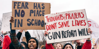 A demonstration by Teens for Gun Reform, an organization created by students in the Washington D.C. area, in the wake of the Feb. 14 school shooting at Marjory Stoneman Douglas High School in Parkland, Fla.