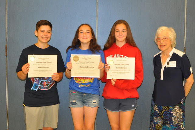 In An Essay What Is A Thesis Statement Winner Mackenzie Chewning Thirdplace Winner Camille Donahue And Evelyn  Goldhammer Ncjw Chair Of The Holocaust Essay Contest Health Essay Sample also English Essay Short Story Ncjw Holds Annual Holocaust Essay Contest  Jewish Exponent Written Essay Papers