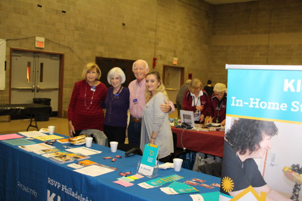 Suzanne Udell, assistant director of RSVP Philadelphia; volunteers Marilyn Swartz and Jordan Lepow; and Miranda Coyne, assistant director of KleinLife: Montgomery County