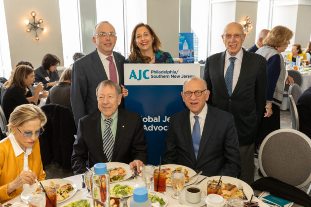 Standing from left: David Hyman, Marcia Bronstein and Len Grossman. Standing: Irwin Cotler and Fred Strober