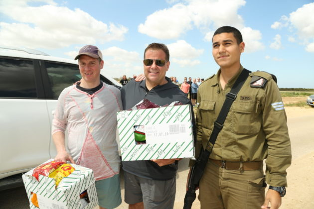 Roger Braunfeld and Josh Verne bring gifts to soldiers
