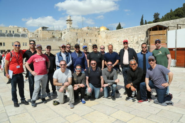 trip participants at the western wall