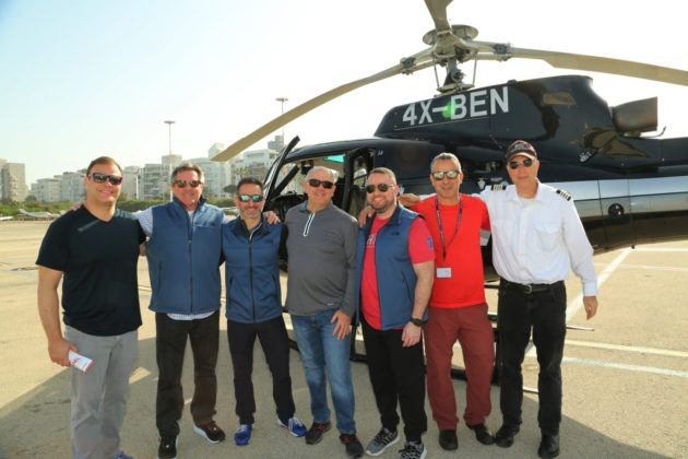 Matt Pestronk, Jon Powell, Carl Rosenfeld, Sol Mermelstein, Lev Pobirsky, Yona Leshet and the helicopter pilot