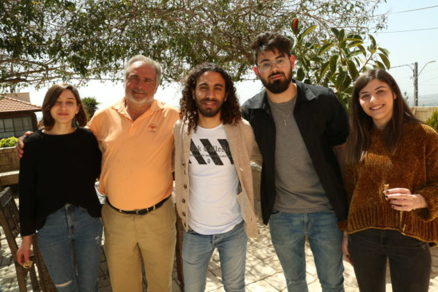 Men's Mission sponsor Mark Fishman with four Atidim Druze graduates