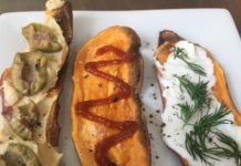 A sweet potato toast with hummus and olives, a sweet potato toast with Sriracha and a sweet potato toast with toum and dill