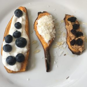 Sweet potato toast with yogurt and blueberries, sweet potato toast with yogurt and shredded coconut, and sweet potato toast with peanut butter and dried cherries