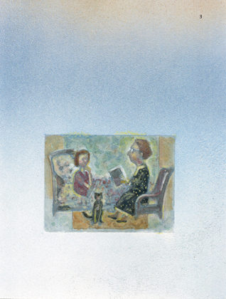 An illustration of Connie Smukler reading to her grandchild