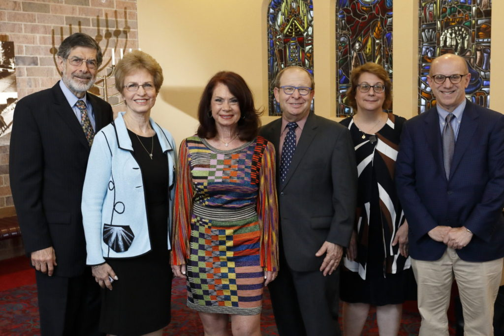 Nathan Relles, Mary Relles, Sherrie Savett, Rabbi Philip Warmflash, Joy Bernstein and Jonathan Broder
