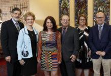 Nathan Relles, Mary Relles, Sherrie Savett, Rabbi Philip Warmflash, Joy Bernstein and Jonathan Broder