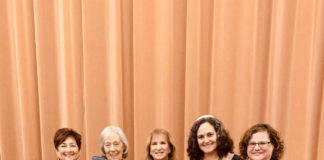 Barbara Nussbaum, Diane Steinbrink, Rabbi Lynda Targan, Rabbi Shoshana Tornberg and Rabbi Andrea Merow stand at a opinion with the NCJW logo