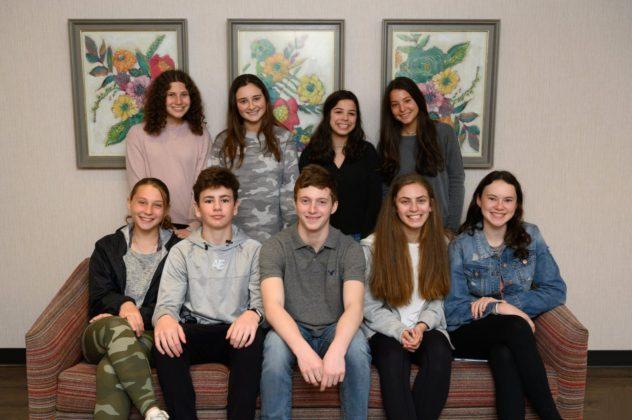 Allison Goldstein, Jessica Wolfe, Darya Neil and Olivia Schwartz. Front row from left: Ella Johnson, Charlie Wiess, Ben King, Tracy Reich and Madaline Pum