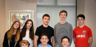 Jesse Wargon, Zoe Morse, Hutton Smith, Andrew Luterman and Simon Rosen. Front row from left: Henry Terlevich, Jeffrey Aronstam and Charlie Aschkenasy