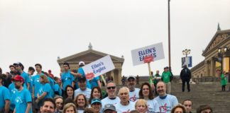 Ellen's Eagles holding different signs for the event