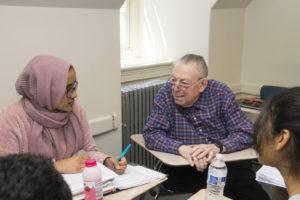 Rabbi Howard Bogot with student Nadia Rahim