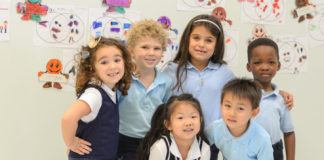 Kindergarten and first grade students at a Hebrew Public school
