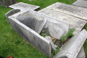 Henriette Marx's smashed Tombstone