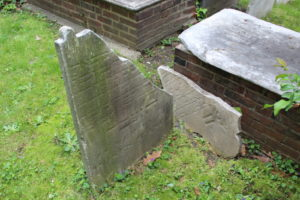A damaged cemetery plot