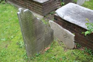 A damaged cemetery plot