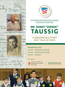 Poster for the event with photo of Sydney Taussig