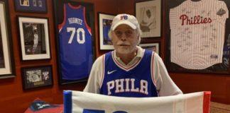 Alan Horwitz with sports memorabilia
