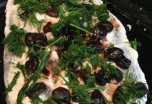 fish with toum and olives