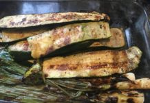 grilled zucchini and spring onions