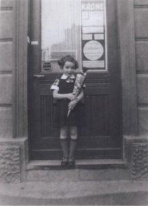 An old black and white photo of Ronnie Breslow in Germany before she started first grade