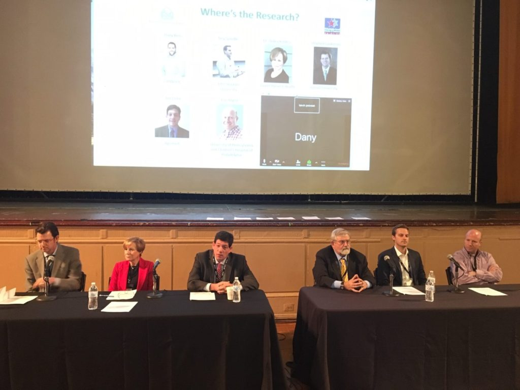 Kevin Provost moderates a panel with Stephen Dahmer, Debra Borchardt and Hayim Raclaw. Tamir Gedo also called in to speak on the panel.