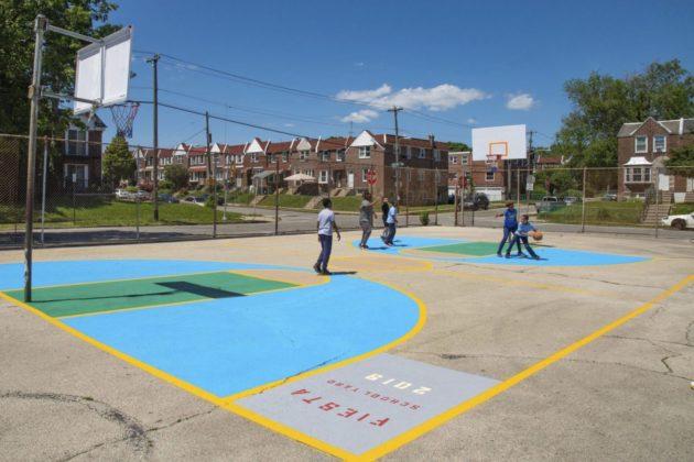 Children play on the new schoolyard.