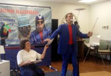 Resident Ethel Greenberg joined John Hadfield in a plate-spinning routine at Federation Housing