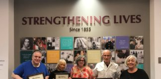 From left: Arthur Feinberg, Nora Mahoney, Ilene Cetlin Lipow, Marty Goldis and Sandi Wasserman at a program recognizing JFCS volunteers