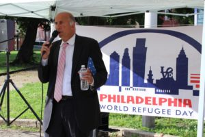 City Councilman Mark Squilla speaks at a World Refugee Day program in Philadelphia