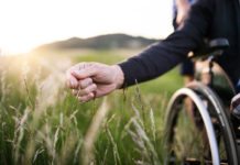 A hand of an elderly person in a wheelchair brushes the grass