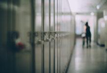 Lockers in a hallway. American Hebrew Academy suddenly closed recently