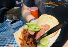 A kosher barbecue brisket sandwich at Hava NaGrilla
