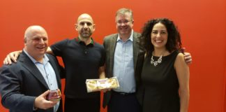 Adam Sussman of Acelerada, Tomer Harpaz of Sabra, Neil Cooper of Royer Cooper Cohen Braunfeld LLC, and Vered Nohi of the Philadelphia-Israel Chamber of Commerce at a conference on food tech