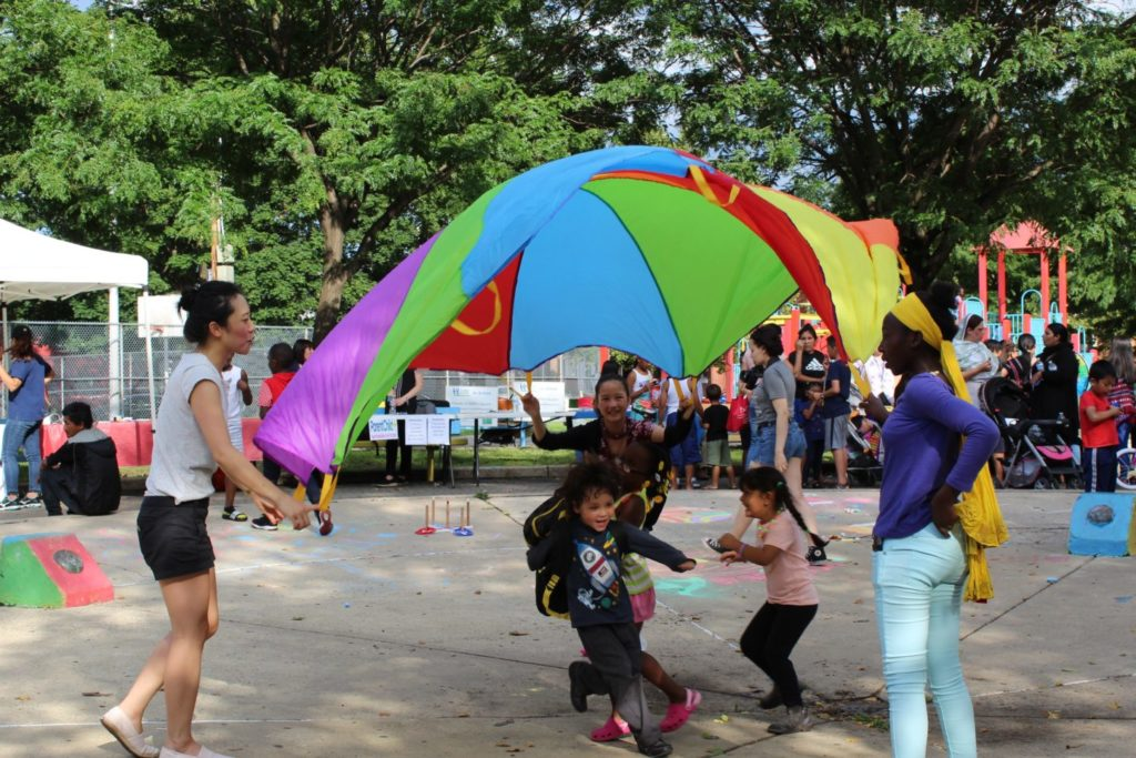 Kids play at a World Refugee Day celebration in Philadelphia