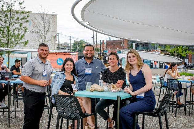From left: Blake Zucker, Gabrielle Schwab, Brett Cohen, Elizabeth Malazita and Hope Markman at a young JFRE event in Philadelphia