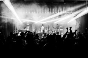 A black and white photo of a concert from last year's Sababa Fest