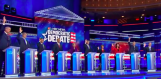 Presidential candidates during the first Democratic primary debate