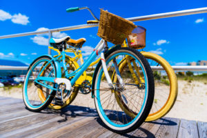 bicycles on a boardwalk