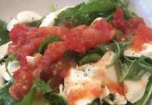 Hot/Cold Caprese Salad made with a tomato sauce recipe